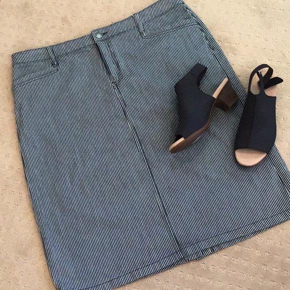 Christopher & Banks Dresses & Skirts - CB Cotton Striped Jean Skirt